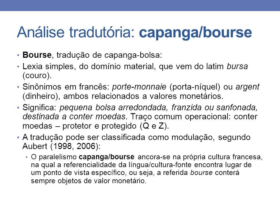 Análise tradutória: capanga/bourse