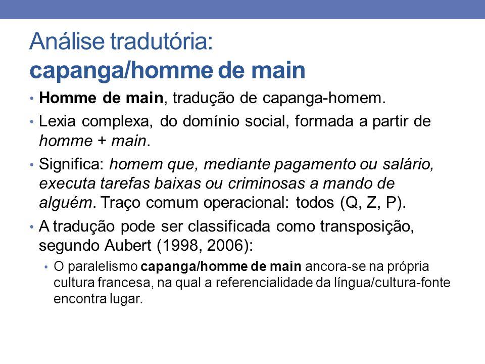 Análise tradutória: capanga/homme de main