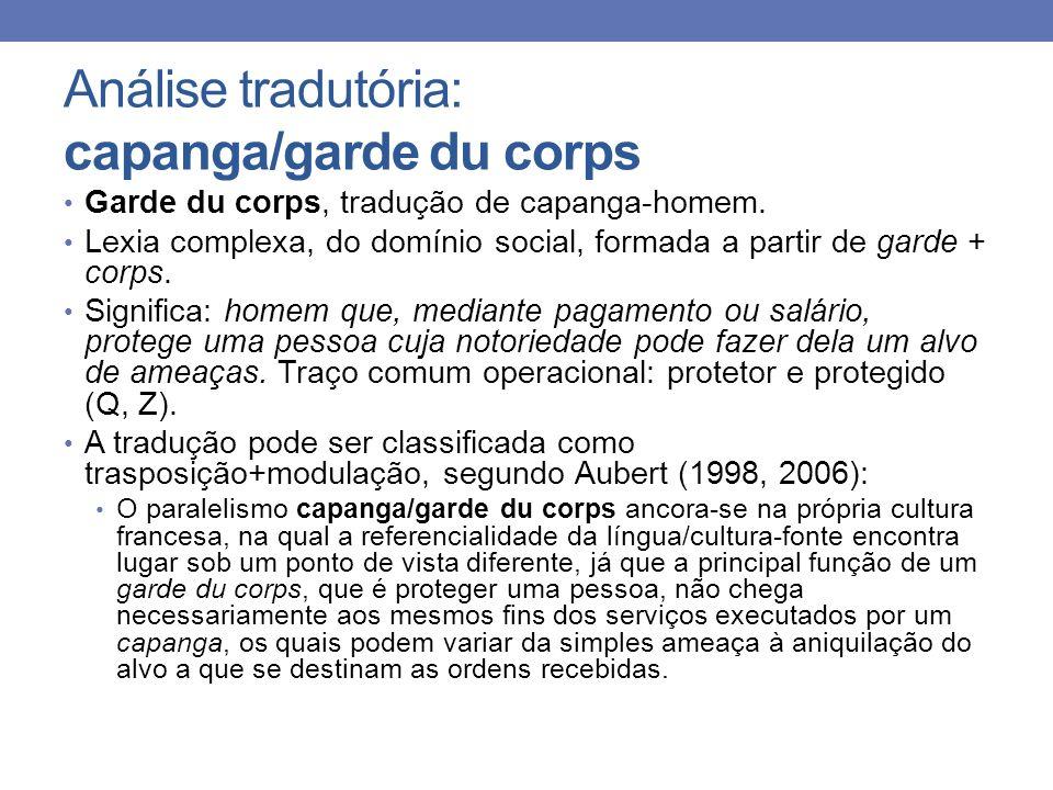 Análise tradutória: capanga/garde du corps