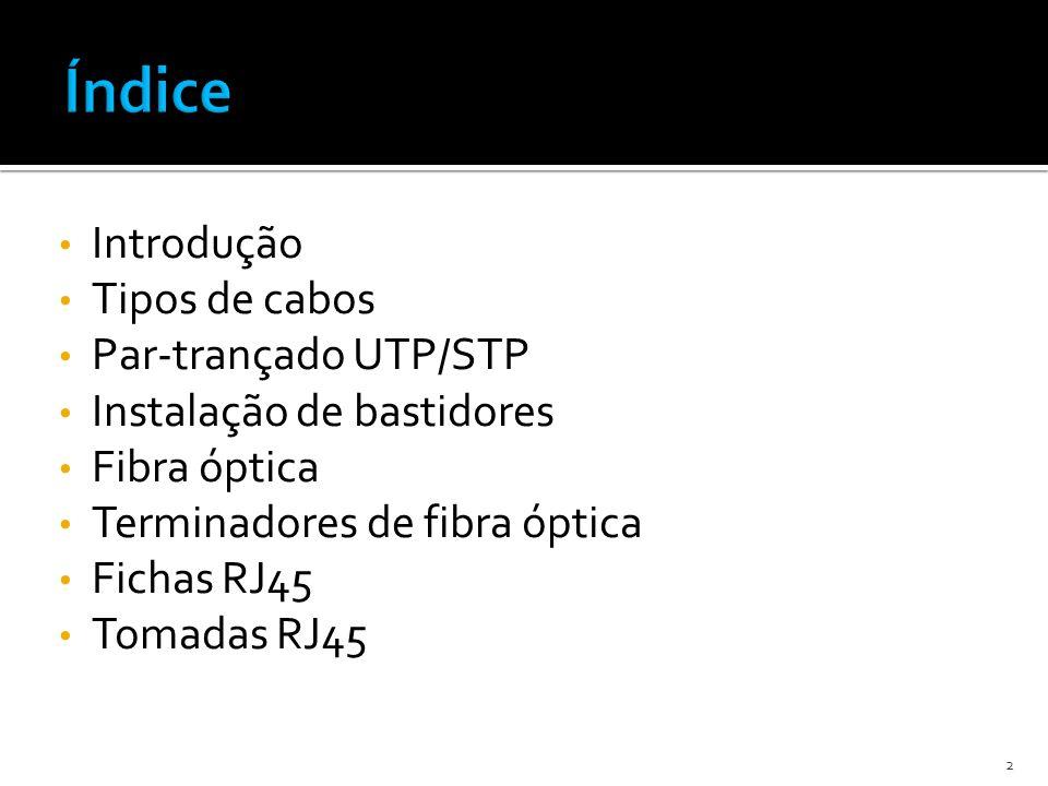 Índice Introdução Tipos de cabos Par-trançado UTP/STP