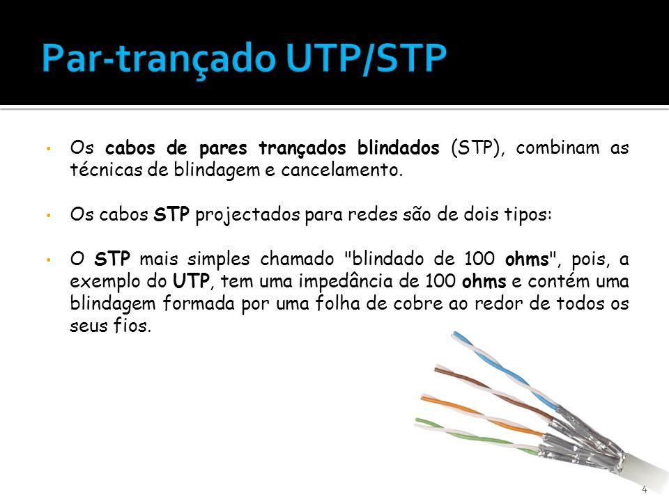 Par-trançado UTP/STP Os cabos de pares trançados blindados (STP), combinam as técnicas de blindagem e cancelamento.