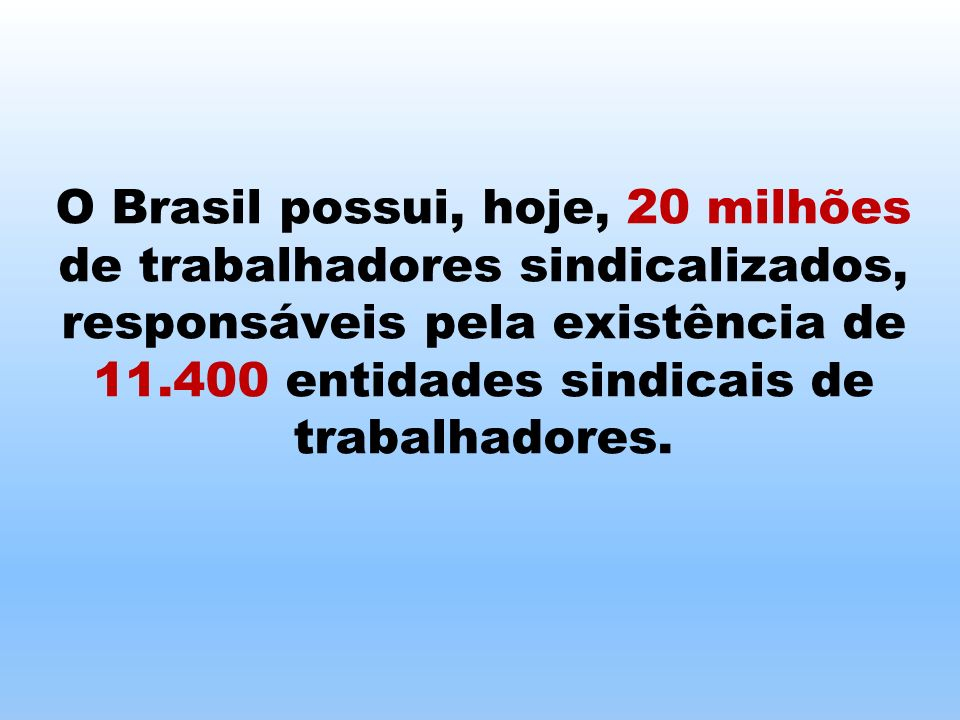 O Brasil possui, hoje, 20 milhões de trabalhadores sindicalizados, responsáveis pela existência de 11.400 entidades sindicais de trabalhadores.