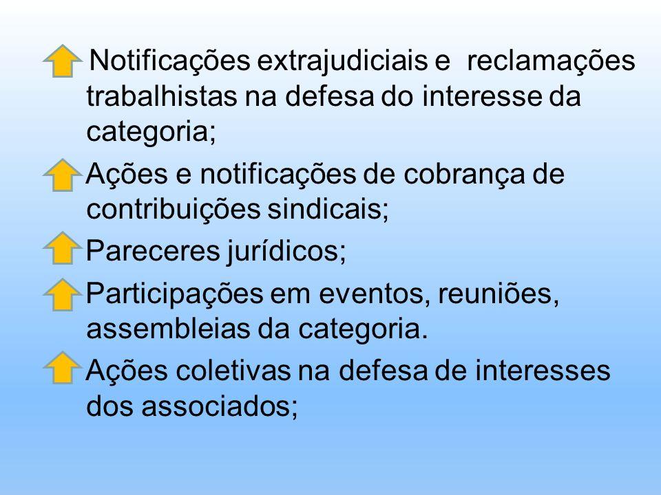 Notificações extrajudiciais e reclamações trabalhistas na defesa do interesse da categoria;