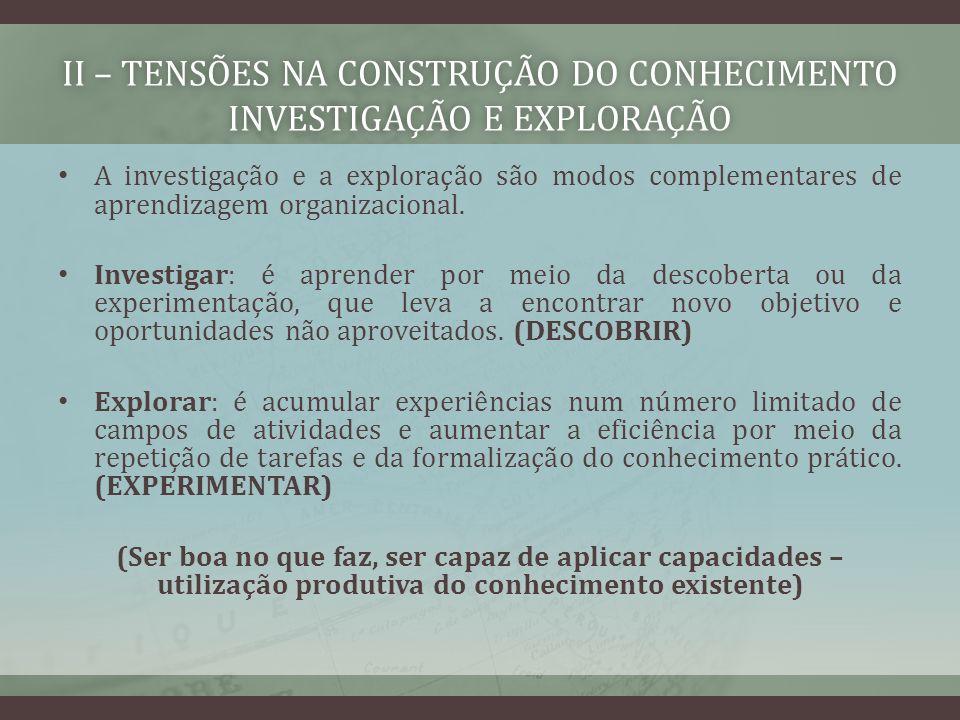 II – TENSÕES NA CONSTRUÇÃO DO CONHECIMENTO investigação e exploração
