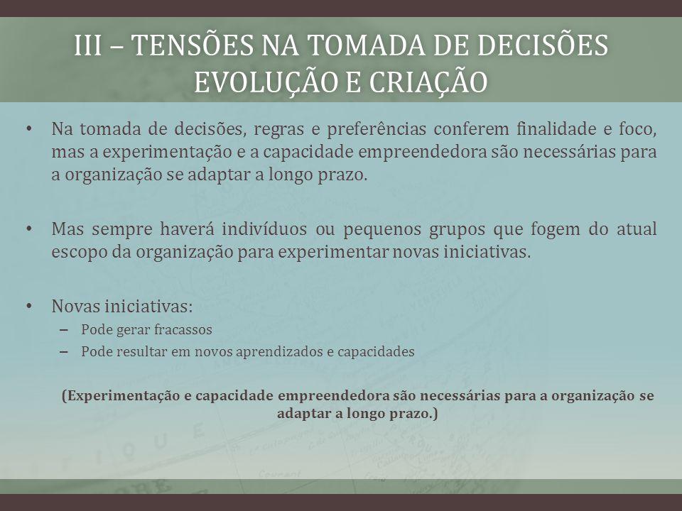 IIi – TENSÕES NA TOMADA DE DECISÕES evolução e criação