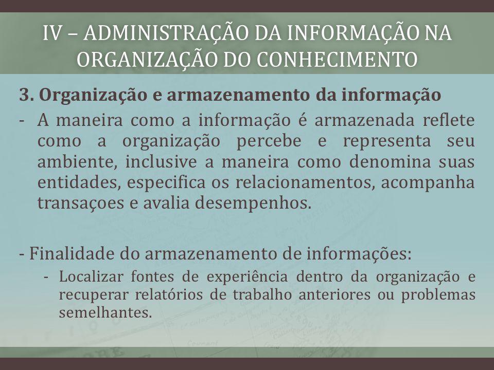 IV – ADMINISTRAÇÃO DA INFORMAÇÃO NA ORGANIZAÇÃO DO CONHECIMENTo