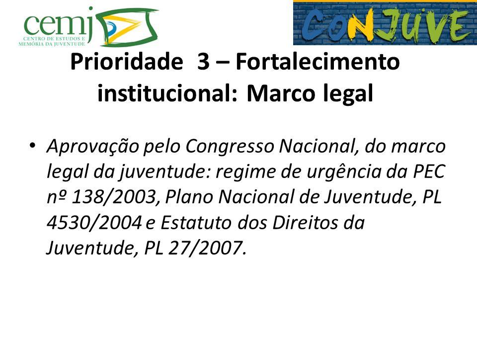 Prioridade 3 – Fortalecimento institucional: Marco legal