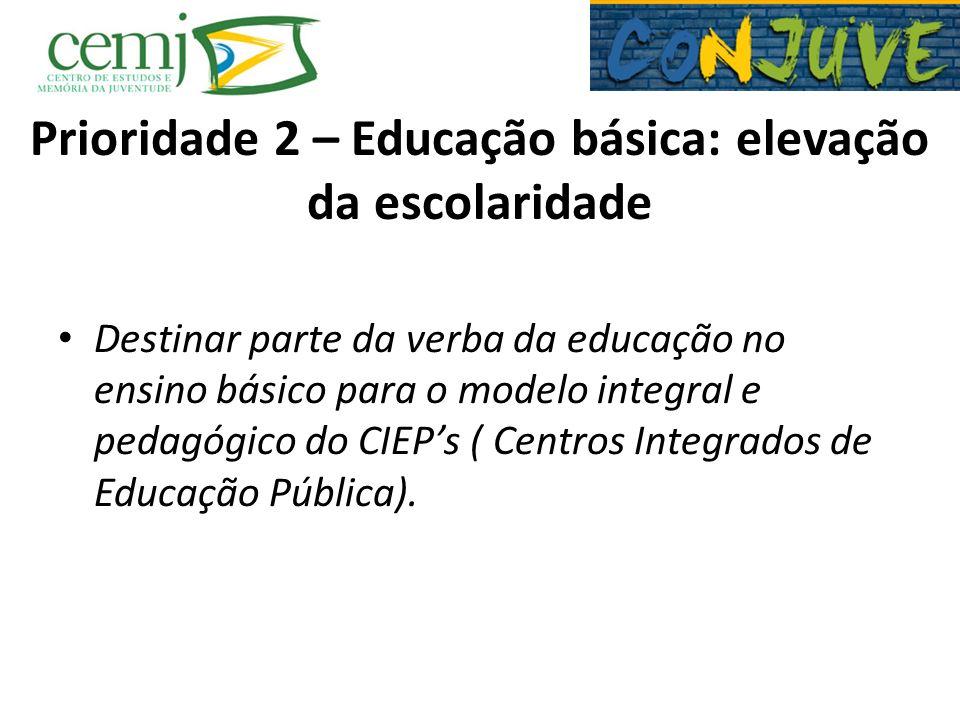 Prioridade 2 – Educação básica: elevação da escolaridade