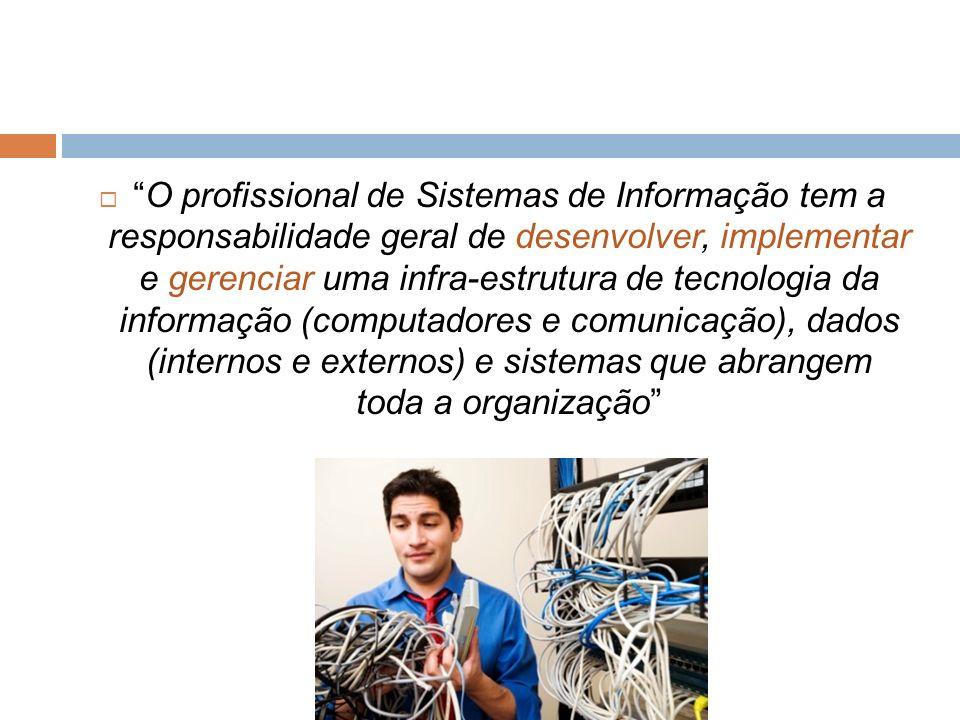 O profissional de Sistemas de Informação tem a responsabilidade geral de desenvolver, implementar e gerenciar uma infra-estrutura de tecnologia da informação (computadores e comunicação), dados (internos e externos) e sistemas que abrangem toda a organização