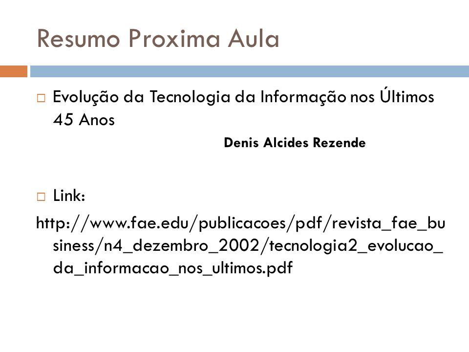 Resumo Proxima Aula Evolução da Tecnologia da Informação nos Últimos 45 Anos. Denis Alcides Rezende.