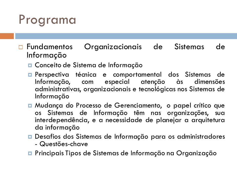 Programa Fundamentos Organizacionais de Sistemas de Informação