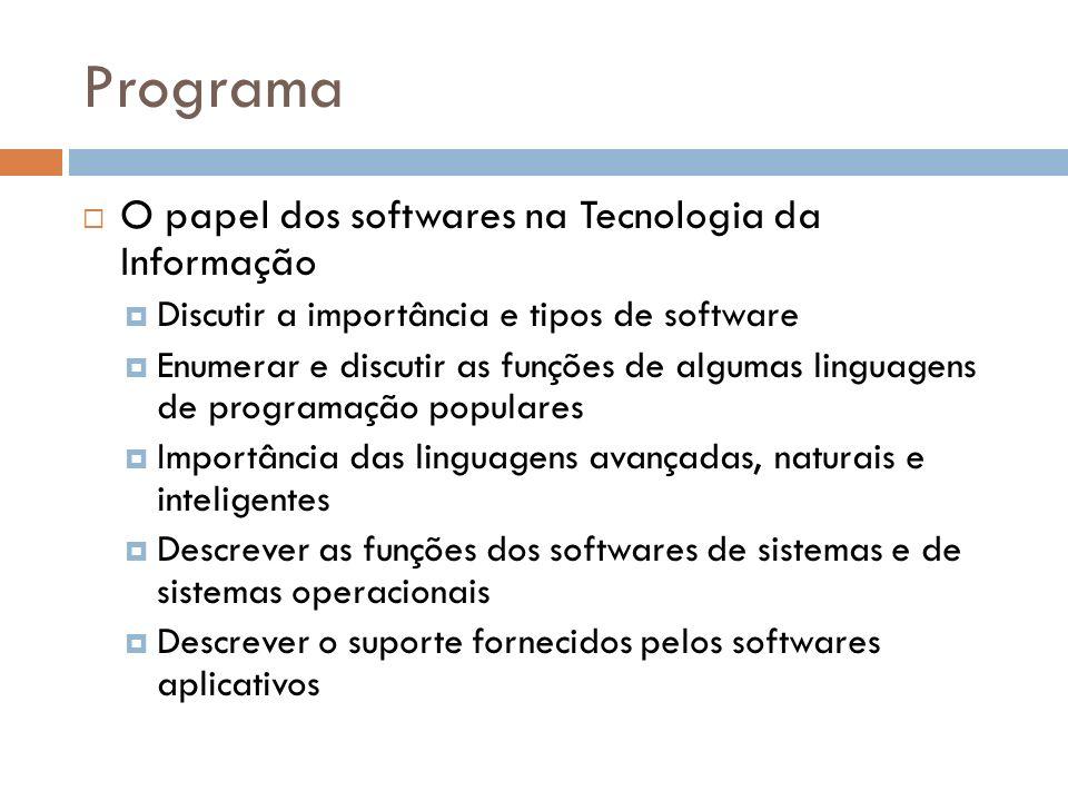 Programa O papel dos softwares na Tecnologia da Informação