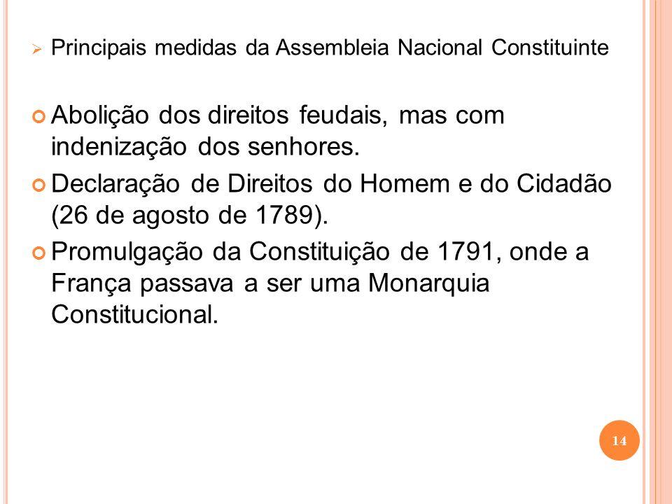 Abolição dos direitos feudais, mas com indenização dos senhores.