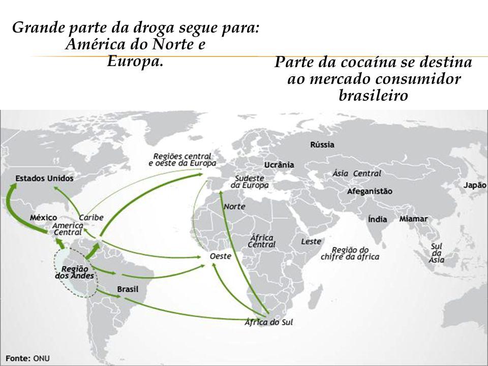 Grande parte da droga segue para: América do Norte e Europa.