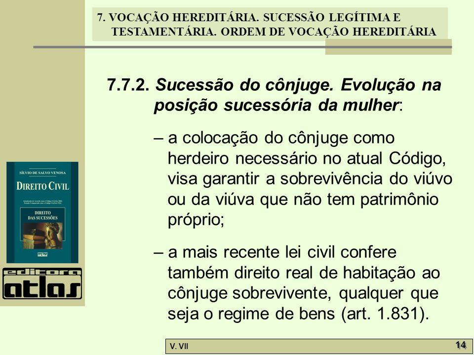 7.7.2. Sucessão do cônjuge. Evolução na posição sucessória da mulher: