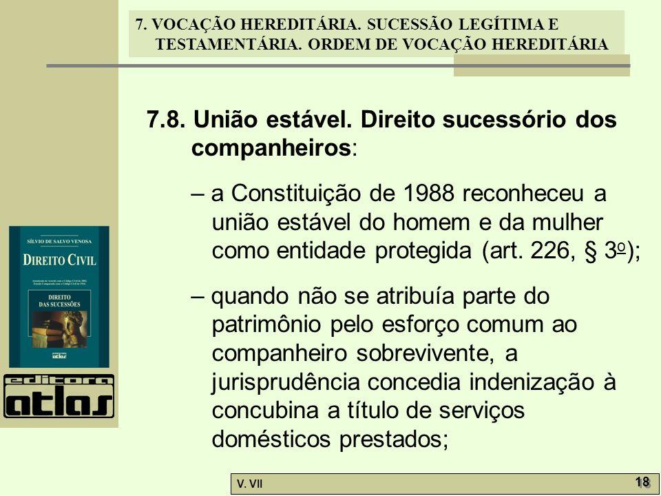 7.8. União estável. Direito sucessório dos companheiros:
