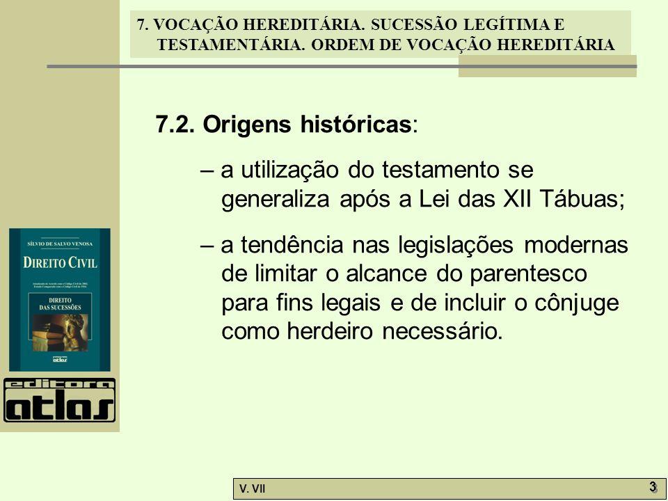 7.2. Origens históricas: – a utilização do testamento se generaliza após a Lei das XII Tábuas;