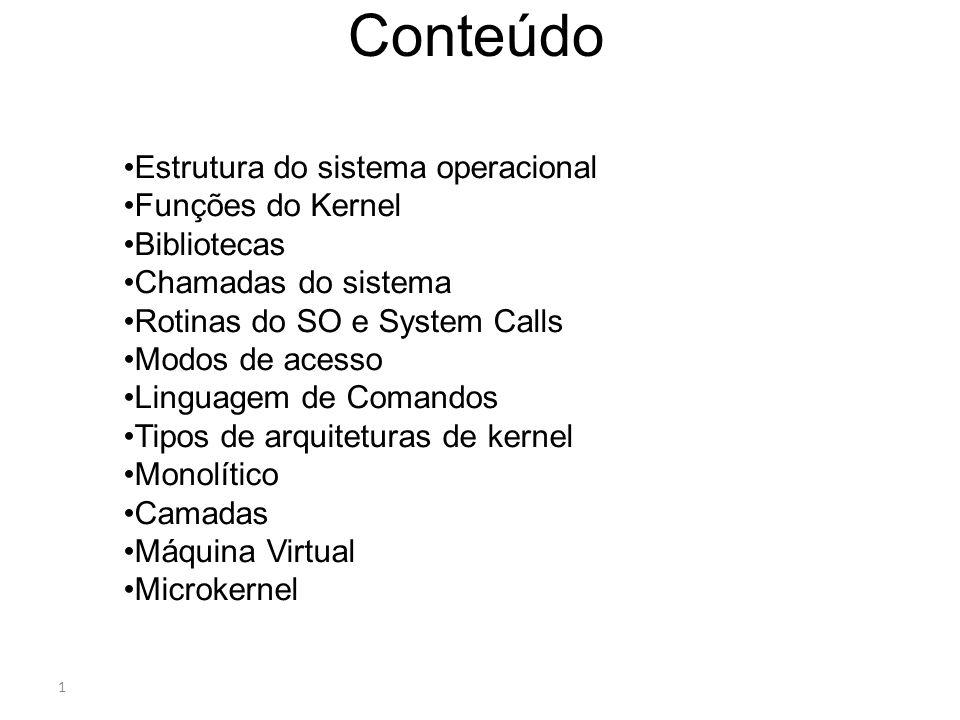 Conteúdo Estrutura do sistema operacional Funções do Kernel