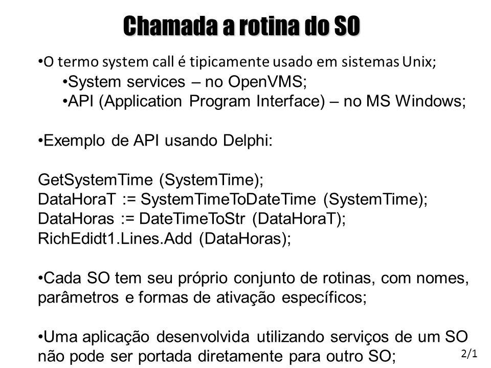 Chamada a rotina do SO O termo system call é tipicamente usado em sistemas Unix; System services – no OpenVMS;