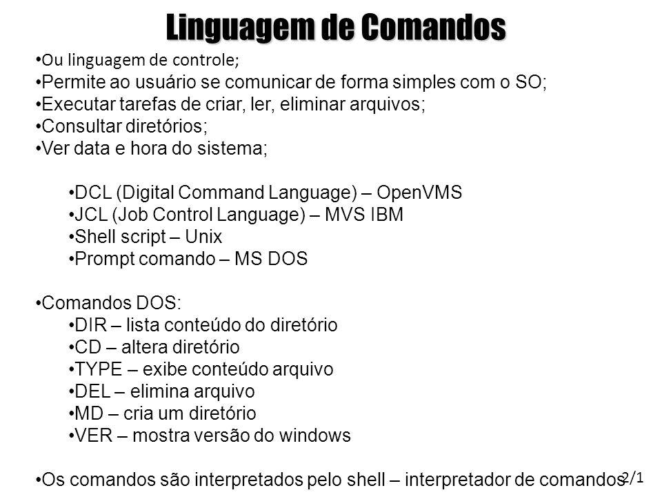 Linguagem de Comandos Ou linguagem de controle;