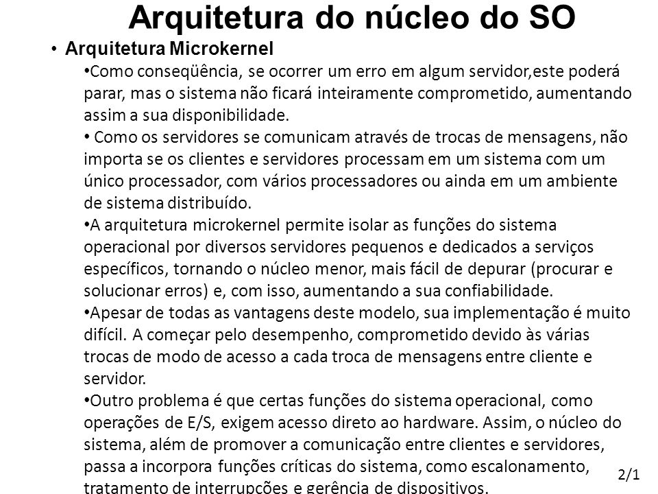 Arquitetura do núcleo do SO