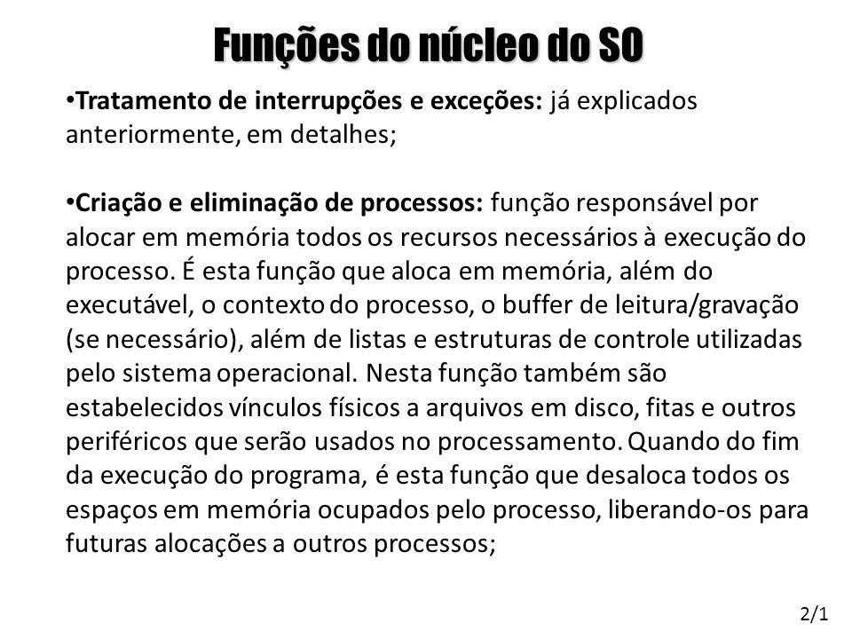 Funções do núcleo do SO Tratamento de interrupções e exceções: já explicados anteriormente, em detalhes;