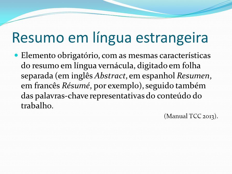 Resumo em língua estrangeira