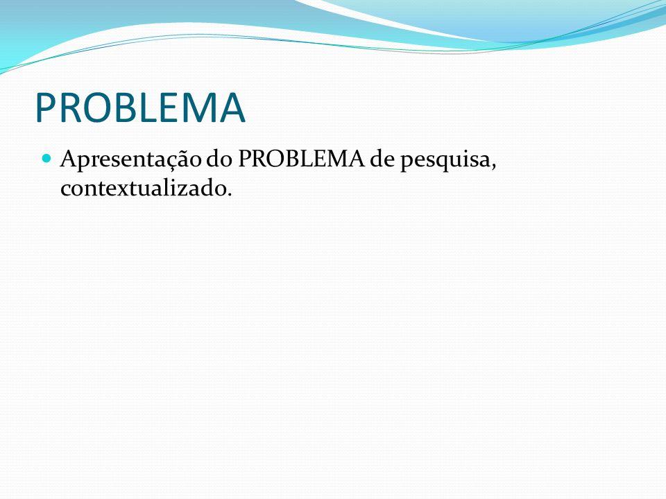 PROBLEMA Apresentação do PROBLEMA de pesquisa, contextualizado.