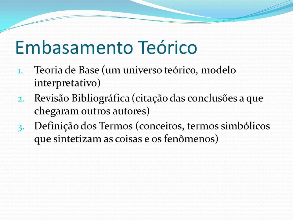 Embasamento Teórico Teoria de Base (um universo teórico, modelo interpretativo)