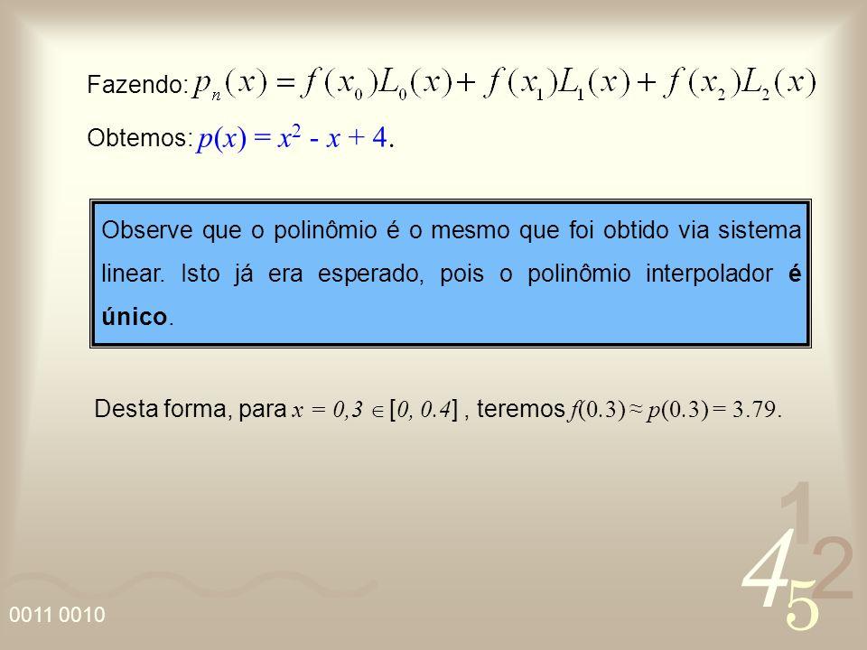 Fazendo: Obtemos: p(x) = x2 - x + 4.