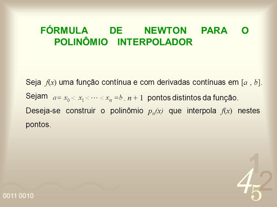 FÓRMULA DE NEWTON PARA O POLINÔMIO INTERPOLADOR