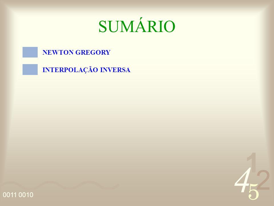 SUMÁRIO NEWTON GREGORY INTERPOLAÇÃO INVERSA