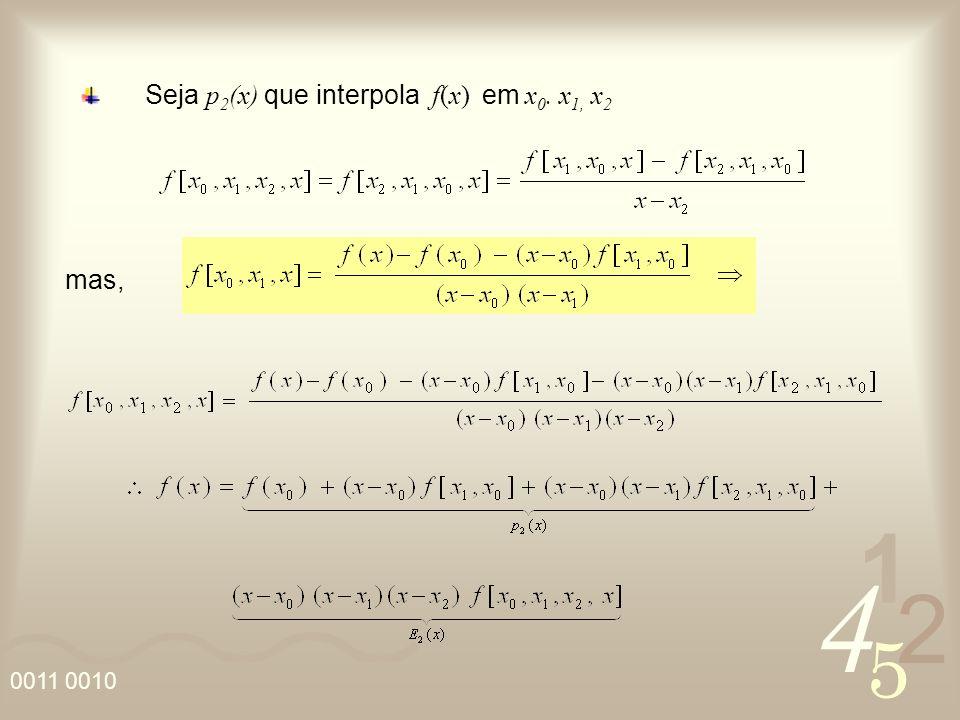 Seja p2(x) que interpola f(x) em x0. x1, x2