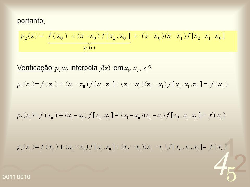 portanto, Verificação: p1(x) interpola f(x) em x0. x1 , x2