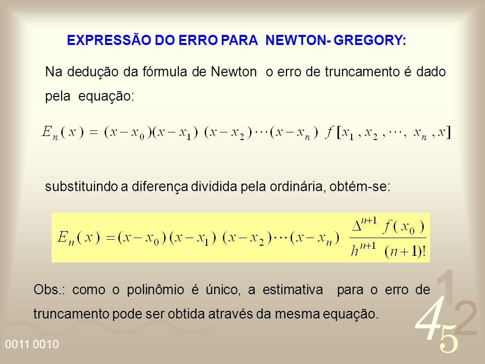 EXPRESSÃO DO ERRO PARA NEWTON- GREGORY: