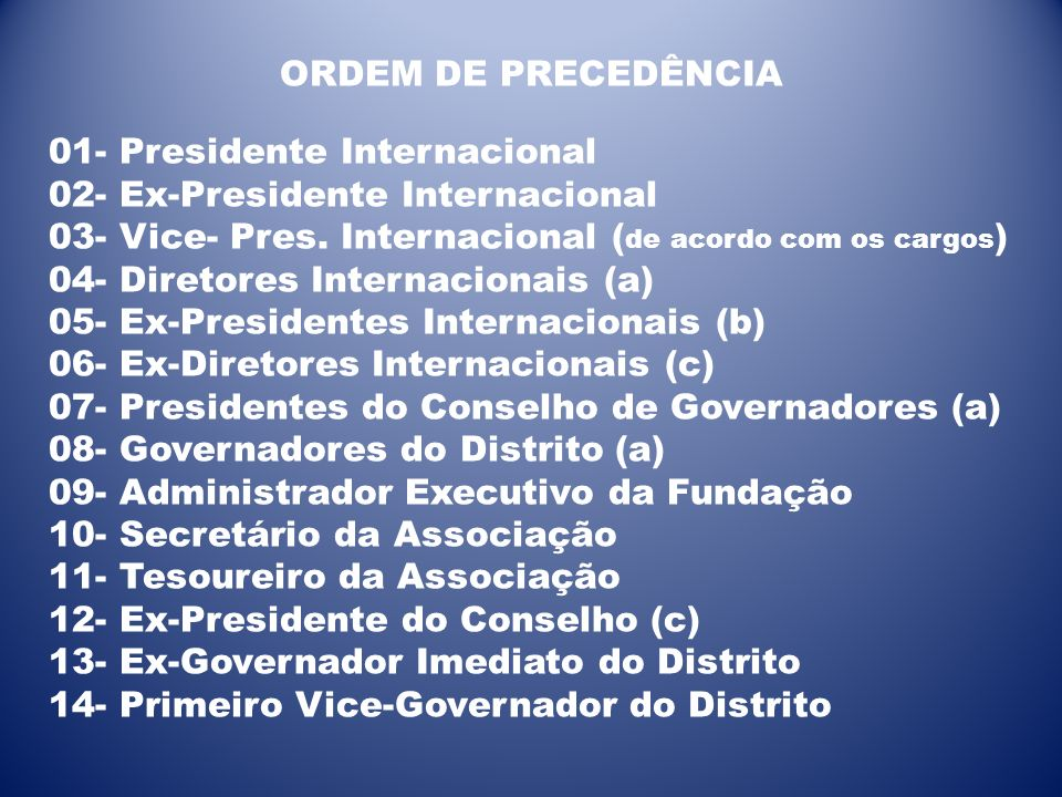 ORDEM DE PRECEDÊNCIA 01- Presidente Internacional. 02- Ex-Presidente Internacional. 03- Vice- Pres. Internacional (de acordo com os cargos)