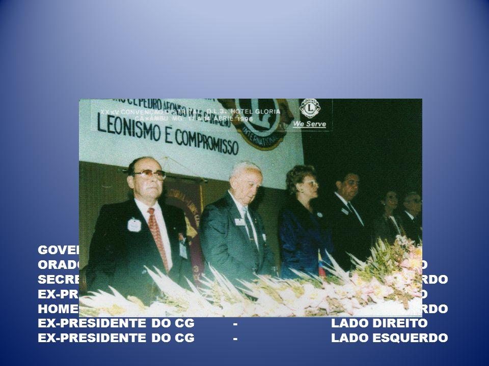 GOVERNADORA - CENTRO ORADOR OFICIAL - LADO DIREITO. SECRETÁRIO - LADO ESQUERDO. EX-PRESIDENTE DO CG - LADO DIREITO.