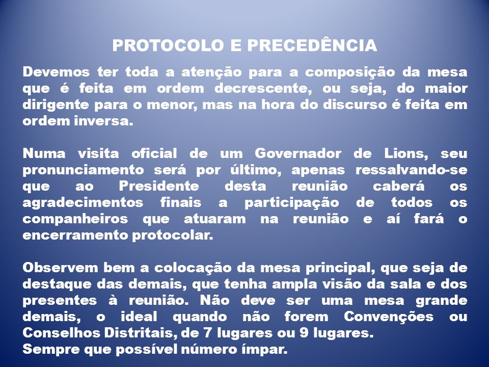 PROTOCOLO E PRECEDÊNCIA