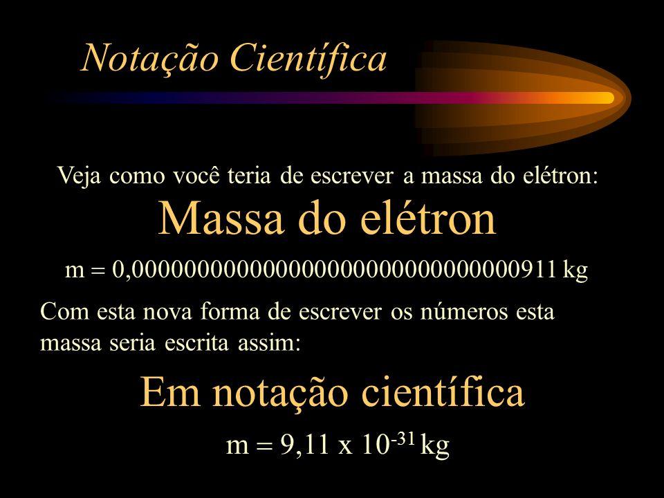 Massa do elétron Em notação científica Notação Científica