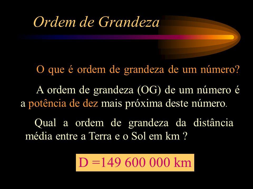 Ordem de Grandeza O que é ordem de grandeza de um número A ordem de grandeza (OG) de um número é a potência de dez mais próxima deste número.
