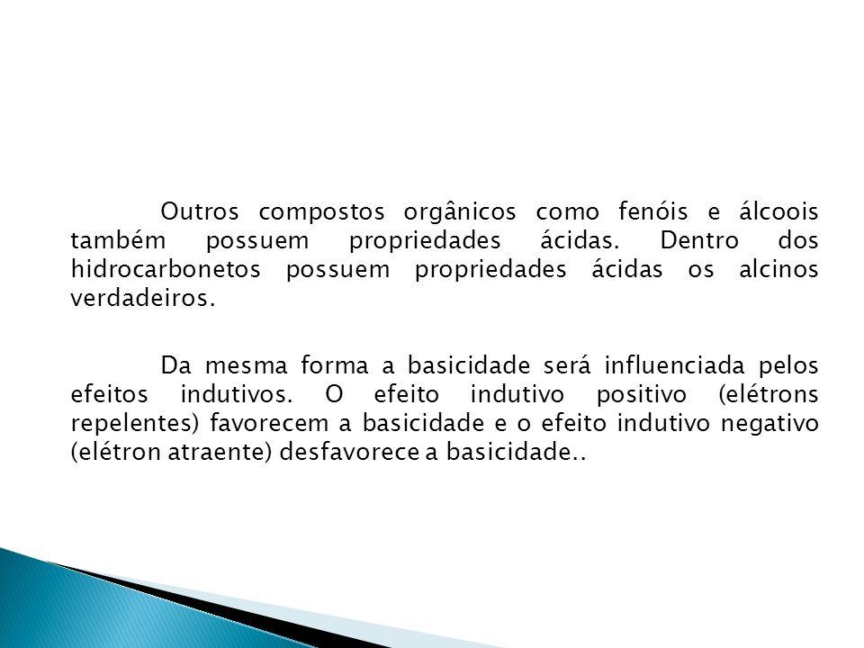 Outros compostos orgânicos como fenóis e álcoois também possuem propriedades ácidas.