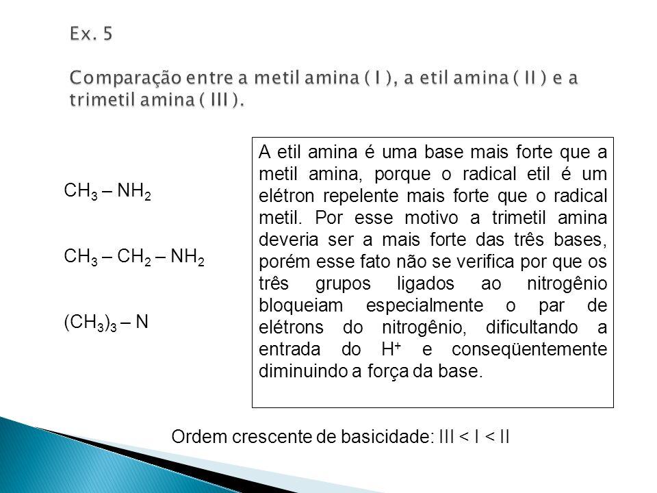 Ex. 5 Comparação entre a metil amina ( I ), a etil amina ( II ) e a trimetil amina ( III ).