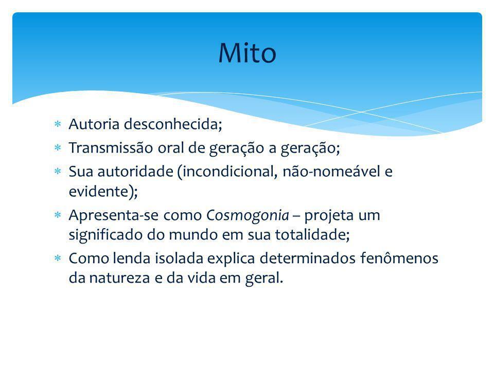Mito Autoria desconhecida; Transmissão oral de geração a geração;