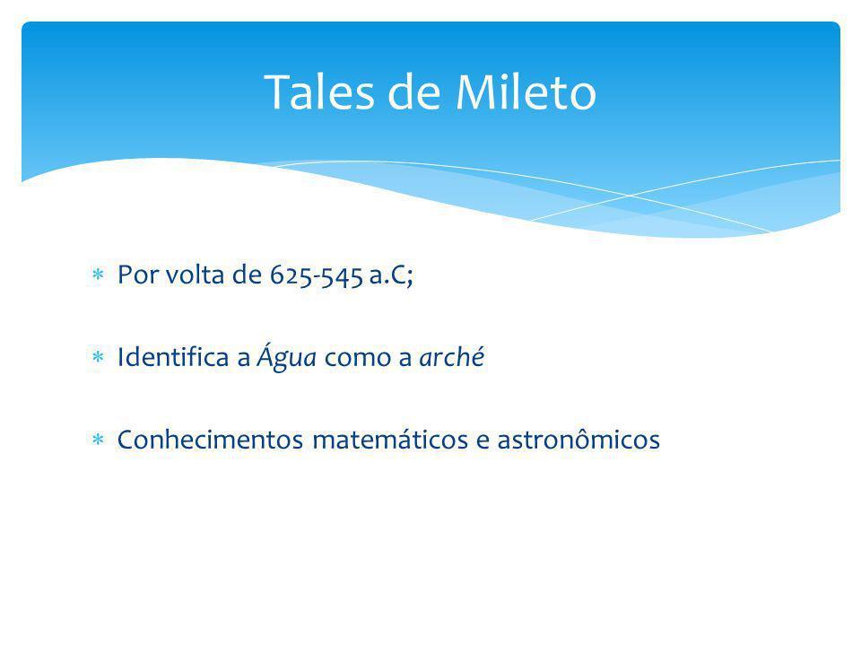 Tales de Mileto Por volta de 625-545 a.C;