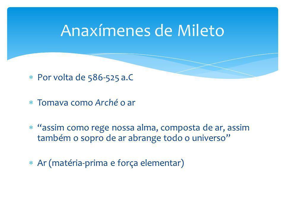 Anaxímenes de Mileto Por volta de 586-525 a.C Tomava como Arché o ar