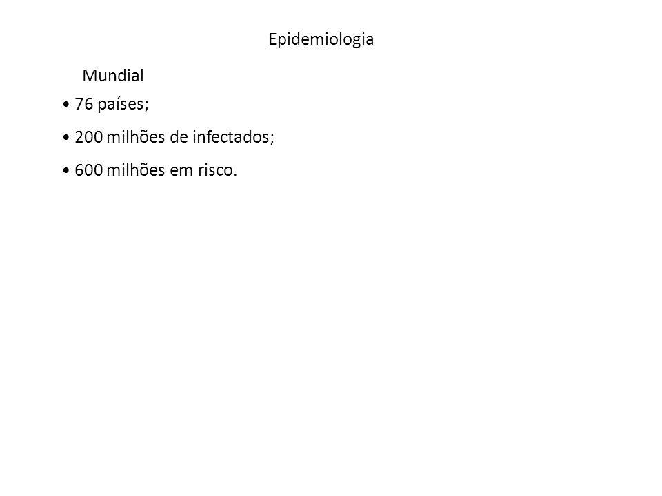 Epidemiologia Mundial 76 países; 200 milhões de infectados; 600 milhões em risco.