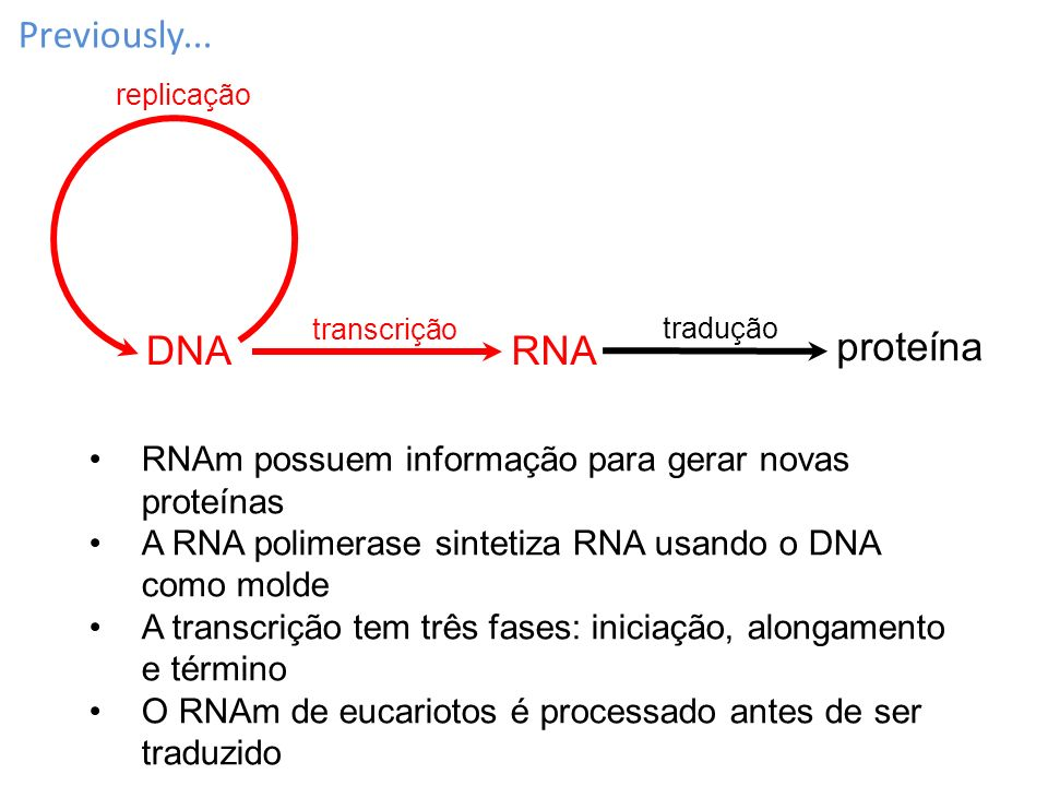Previously... DNA RNA proteína