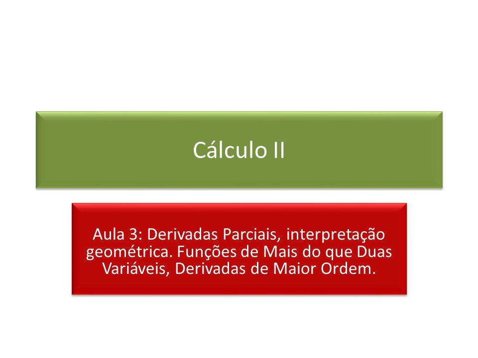Cálculo II Aula 3: Derivadas Parciais, interpretação geométrica.
