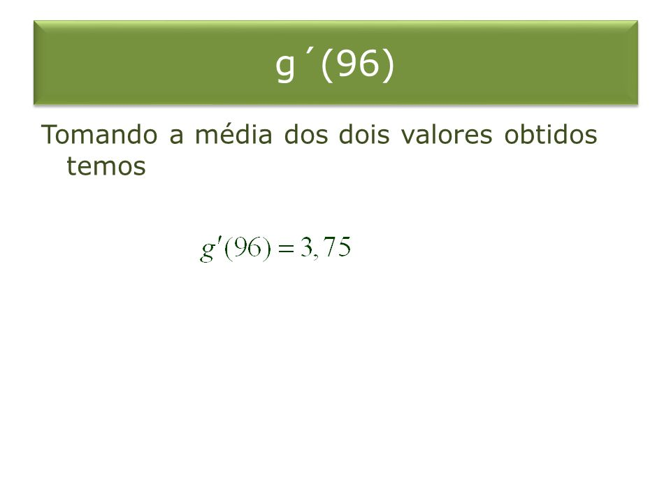 g´(96) Tomando a média dos dois valores obtidos temos