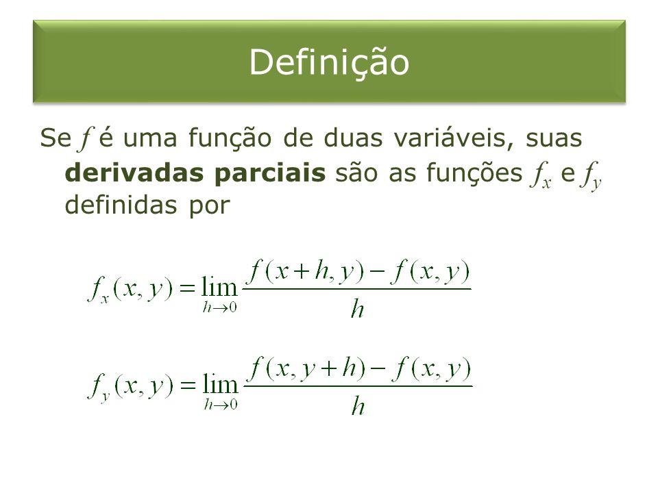 Definição Se f é uma função de duas variáveis, suas derivadas parciais são as funções fx e fy definidas por.